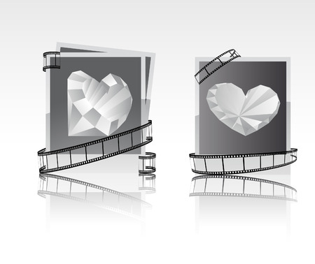 black-white snapshots with diamonds.  Stock Illustratie