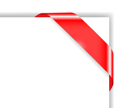 Red colored corner bow; clip-art Illustration