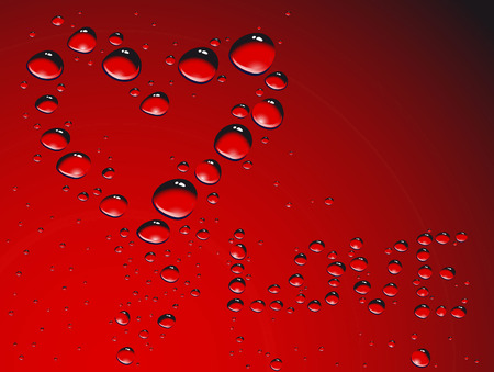 waterdrops: Heart made from waterdrops; clip-art