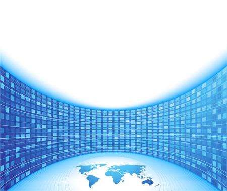 perspectiva lineal: Tarjeta de negocios �nico concepto - azul. Ilustraci�n Vectores