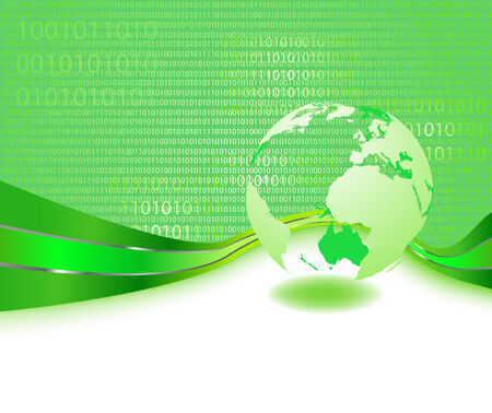 informational: Green informational planet - business concept