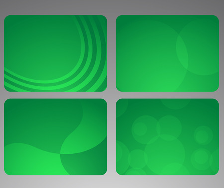 Collection of abstract green cards. illustration Vector