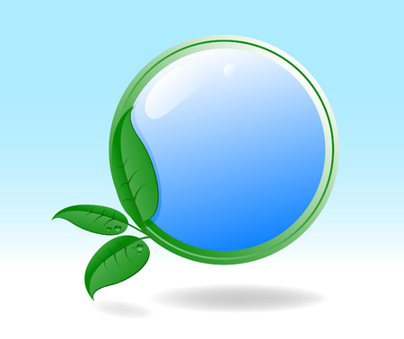 waterdrops: Eco icon with green leaves.  illustration