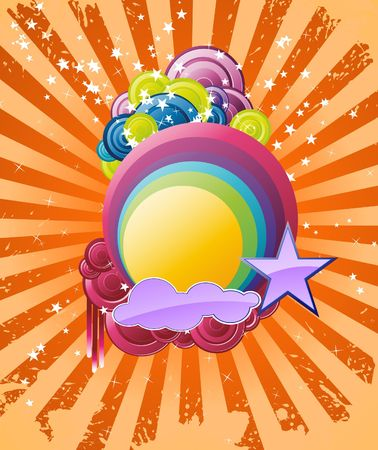 festival poster: Discotheque rainbow banner. Clip-art
