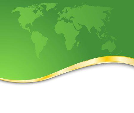 rim: Green business card with golden rim. Clip-art