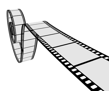 films: 3D realistic film strip.  illustration Illustration