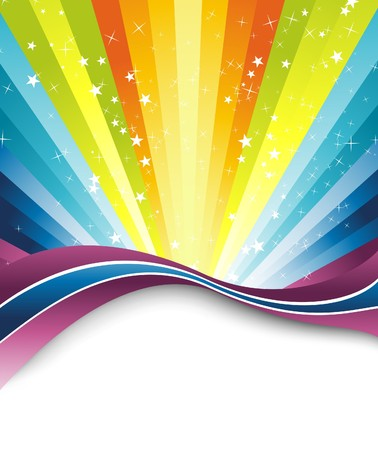 rainbow print: Colorful rainbow banner template. illustration Illustration