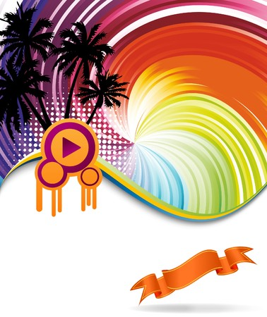 Colorful rainbow discotheque banner. illustration Vector