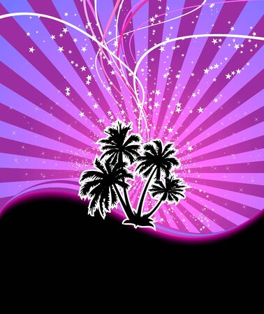 Discotheque night palm banner.  illustration
