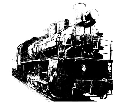 old train: Old fashioned train.  illustration