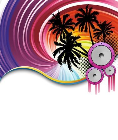 fiesta dj: Póster de parte de playa de arco iris. Ilustración  Vectores