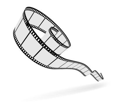 3D film strip cut.  illustration Vector