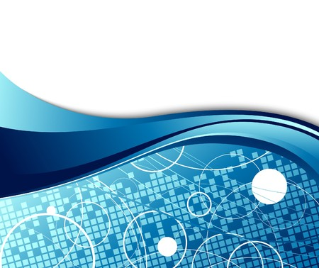 white wave: Abstract hi-tech banner template. Illustration