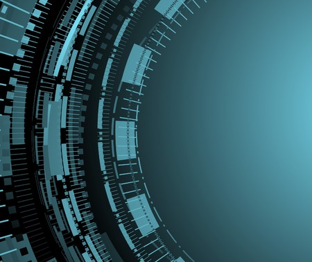 Blue technology background with circle patterns.