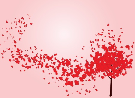 heart outline: Valentine tree with hearts. Vector illustration