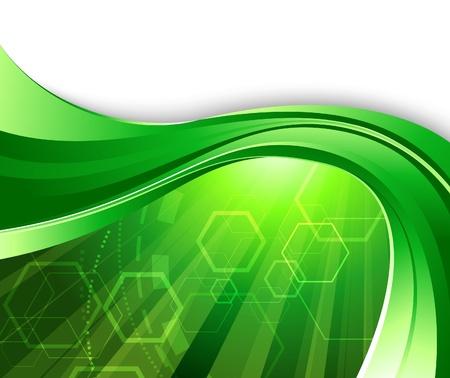 digital wave: Fondo de tecnolog�a verde brillante. Ilustraci�n vectorial