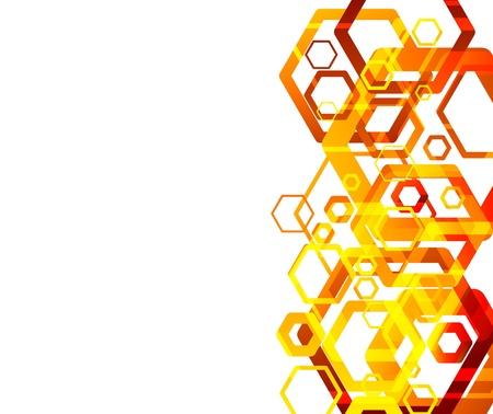 hexagon: Hexahodron abstract orange background. Vector illustration Illustration