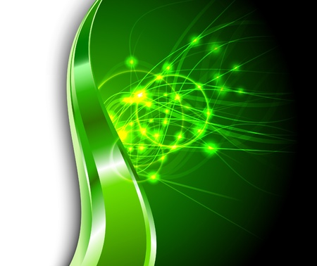 Green background - energy flares. Vector illustration Vector