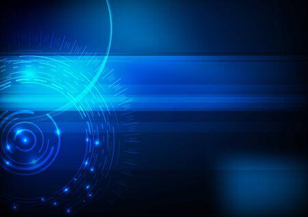 effetti di luce: Blu hi-tech computer in background. Vector illustration