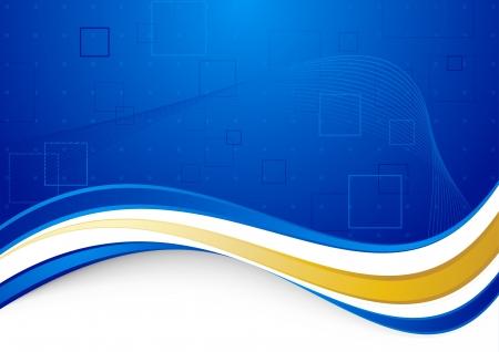 Blauwe communicatieve achtergrond met gouden grens illustratie Stock Illustratie