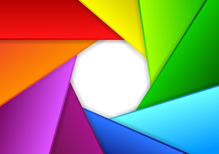 diaphragm: Colorful background in a shape of camera shutter  illustration