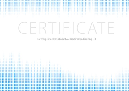 Certificate - blue halftone background  Vector illustration