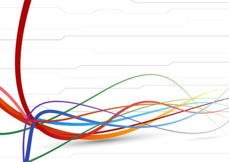 flujo de datos: El futuro de fondo - l�neas de cable colorida ilustraci�n vectorial