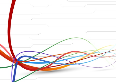 Futuristic background - colorful cable lines Vector illustration