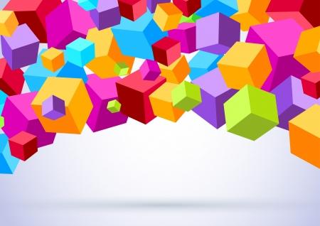 Background with colorful cubes  Vector illustration Ilustração
