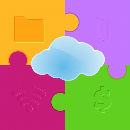 Cloud computing promo puzzle background. Vector illustration Vector