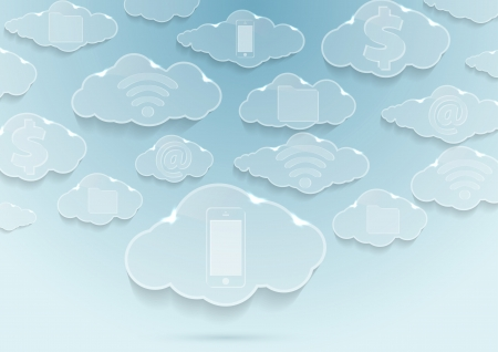 Clouds with icons - computing concept. Vector illustration Vector
