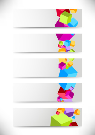 Collection of cards with colorful cubes. Vector illustration Vector