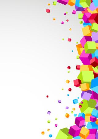 aside: Colorful cubes aside - festive background. Vector illustration