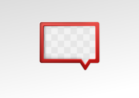 communicative: Red empty speech bubble on a metal background. Vector illustration