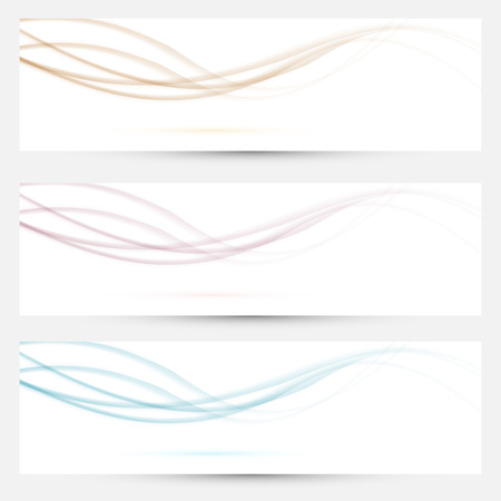headers: Transparent web headers with swoosh elements collection. Vector illustration