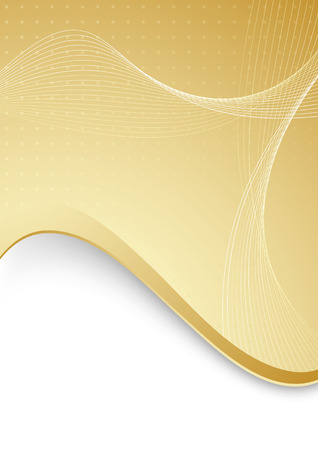 communicative: Abstract with golden border and waves. illustration