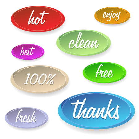 satisfy: Set of stickers or buttons - customer satisfaction. Vector illustration