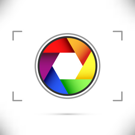 camera shutter: Bright rainbow camera shutter diaphragm. Vector illustration