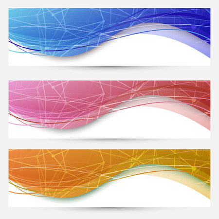 footer: Chemical molecular web banners set. Vector illustration