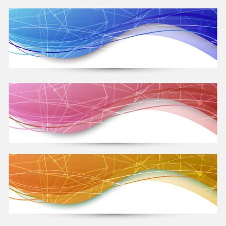Chemical molecular web banners set. Vector illustration Vector