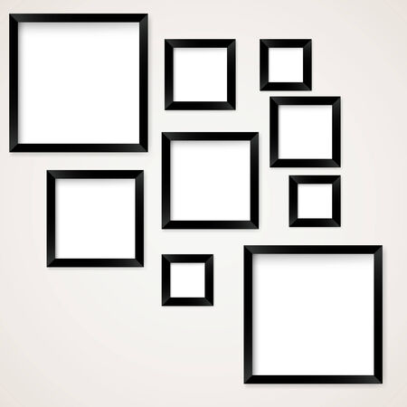 main group: Set of vintage picture frames hanging. Vector illustration Illustration