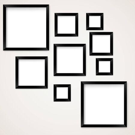 main idea: Set of vintage picture frames hanging. Vector illustration Illustration