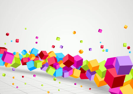 red cube: Bright Cubes fly perspective background. Vector illustration Illustration