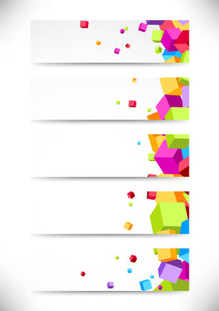 red cube: Collection business cards with bright colorful cubes. Vector illustration Illustration