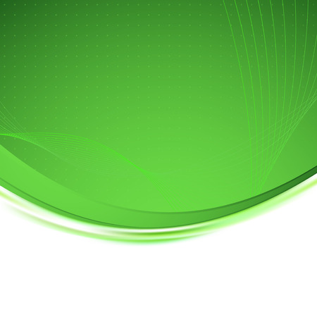 Green background unusual bright swoosh. Vector illustration