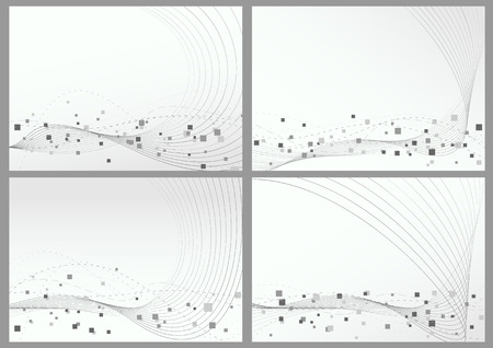 Abstract lines particles backgrounds set. Vector illustration Vector
