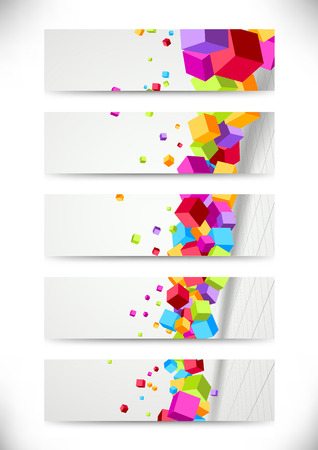 Colorful bright cubes fly - cards collection. Vector illustration Vector