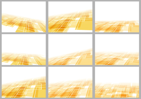 Orange tile perspective backgrounds collection. Vector illustration Vector