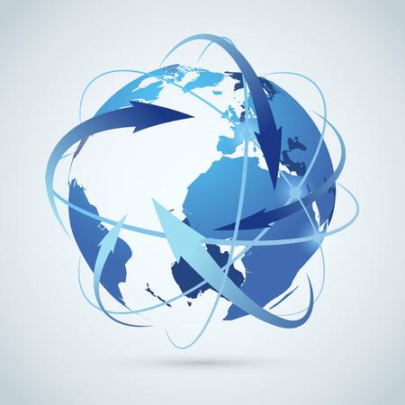 グローバル ビジネスのアイデア - 地球矢印パス。ベクトル イラスト  イラスト・ベクター素材