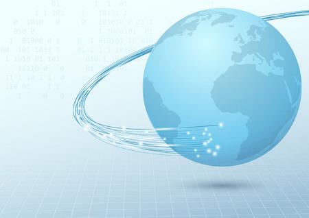 地球ブロード バンド ケーブル接続背景。